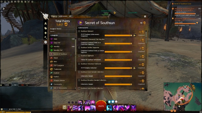 Part of the achievement list for Secret of Southsun.
