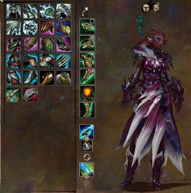 This doesn't show other skins I've had and have since salvaged or transmuted over - just sets that character currently has on her. Also, whoops, forgot to repair my armor...