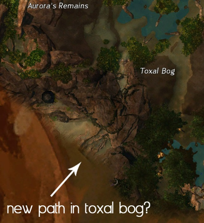 Location of the new path leading out of Brisban.