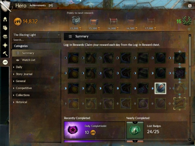 The main achievement panel screen. It shows your points, your next few chests, your daily rewards, recently completed achievements, and nearly-completed ones.